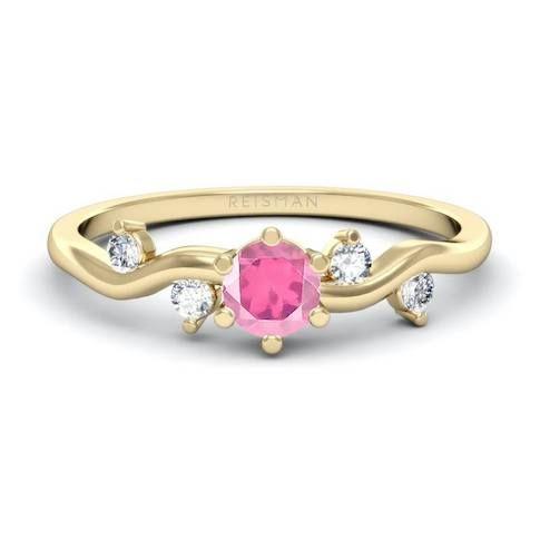 Anel Belle Safira Rosa Ouro