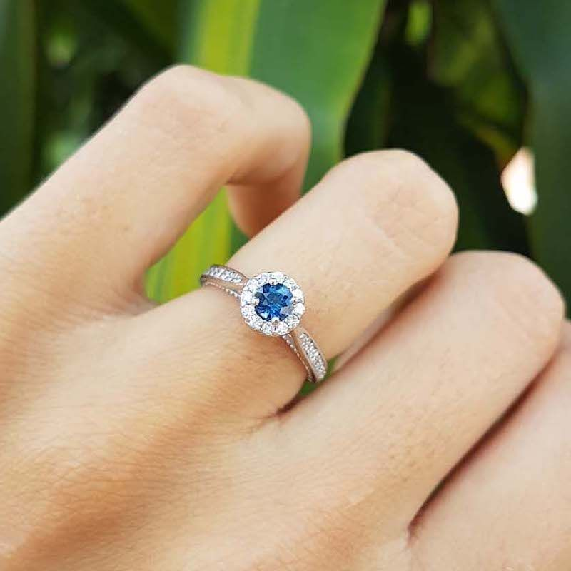 Anel Amore Mio Safira Azul