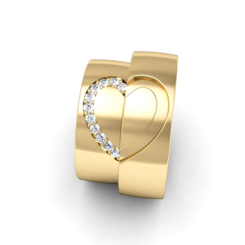 Alianças de Coração em Ouro 18K Eterno Amor