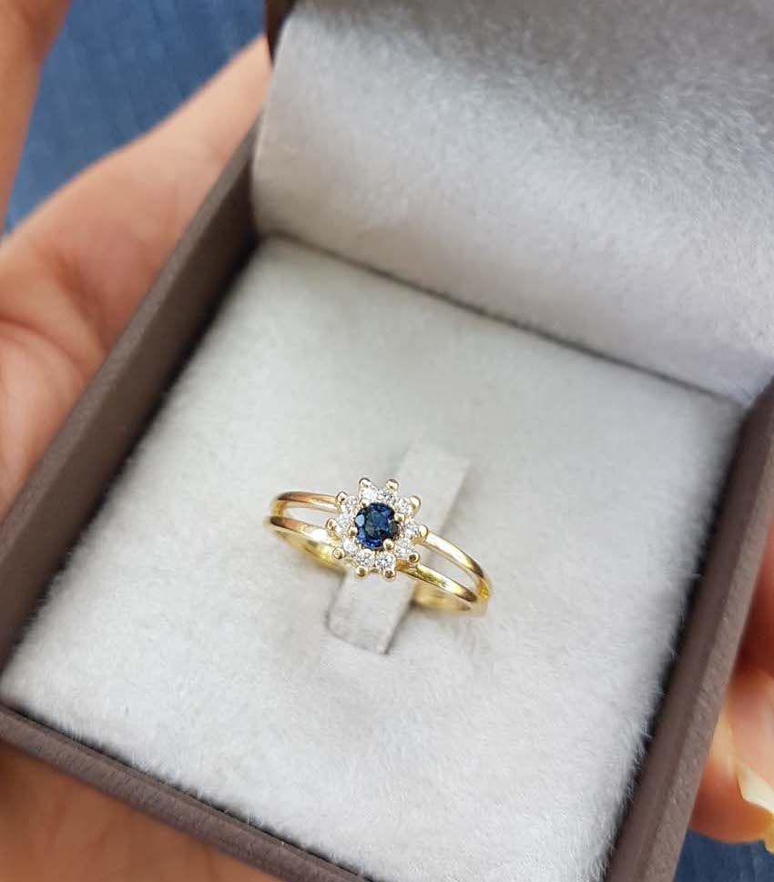 Anel Florence Safira Azul