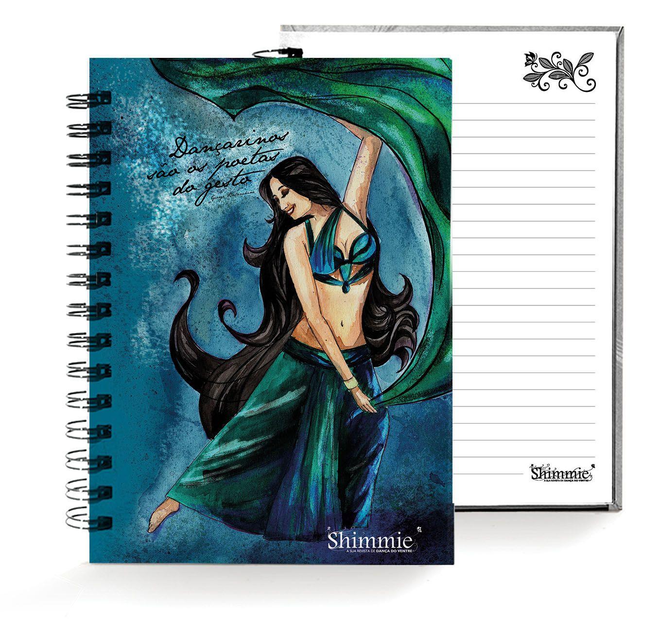Caderno . Shimmie Verde e Azul . Pequeno