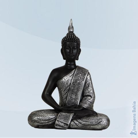 Imagem de Buda Bali de parede prateado