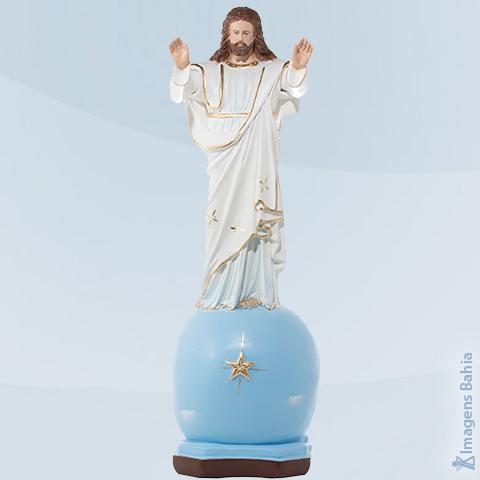 Imagem de Cristo Abençoando sobre o globo com manto branco