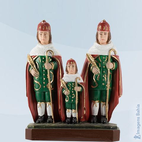 Imagem de São Cosme, Damião e Doum roupa vermelha