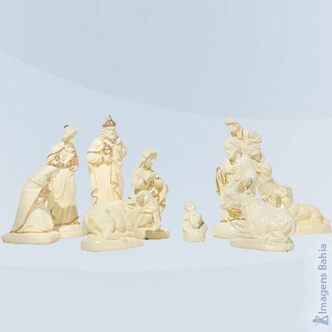 Imagem de Presépio com 10 peças pintura bege e dourada
