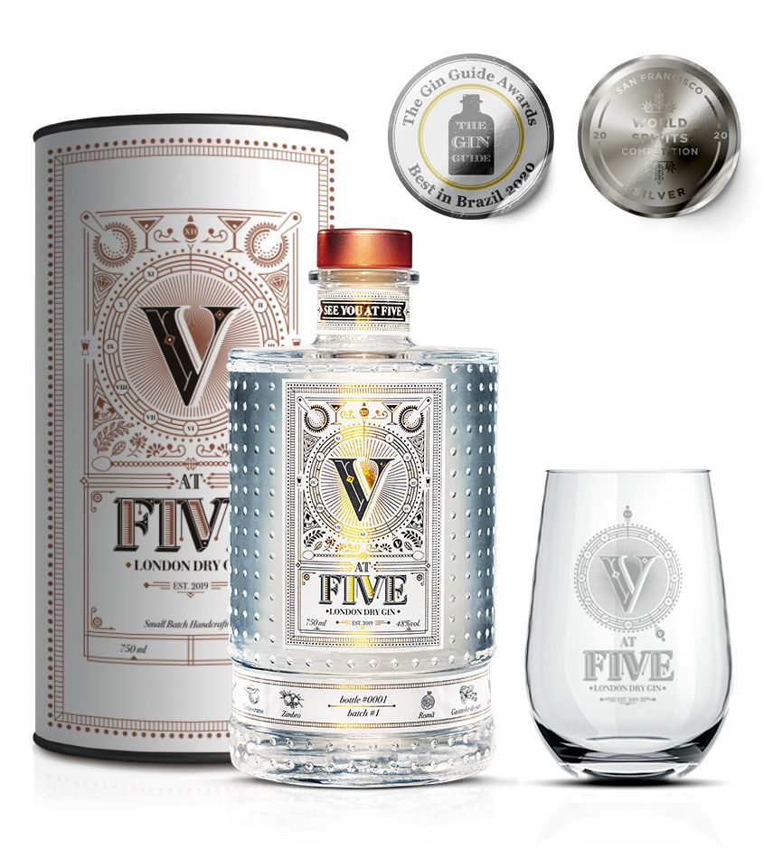 Gin At Five - London Dry - 750 ml com copo