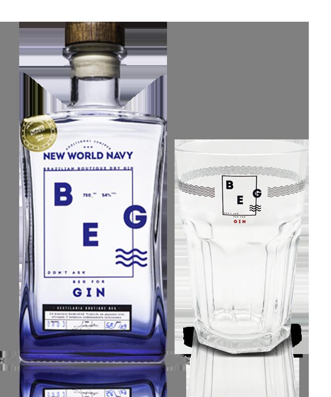 Gin Beg Navy - 750 ml - com 1 Copo