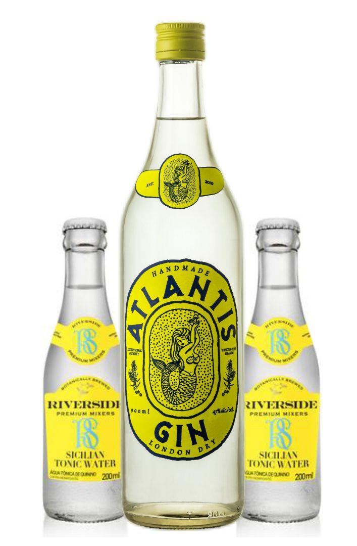 Gin Atlantis 900 ml + 2 Riverside Sicilian