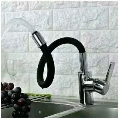 Misturador Monocomando para Cozinha Bica Flexível Preta