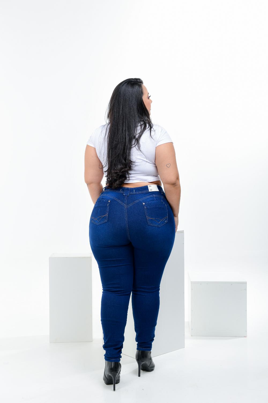 Calça Feminina Jeans Skinny Carbono Plus Size Cintura Alta