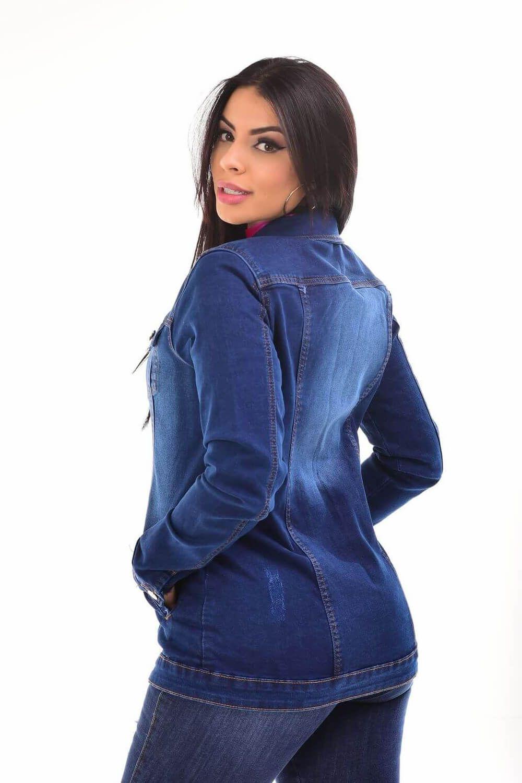Max Jaqueta Feminina Jeans Com Lycra