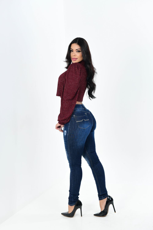 Calça Feminina Jeans Skinny Puído