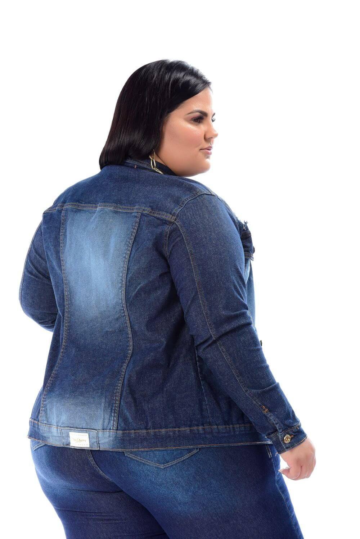 Max Jaqueta Feminina Jeans Plus Size Com Detalhes De Rasgo Xtracharmy