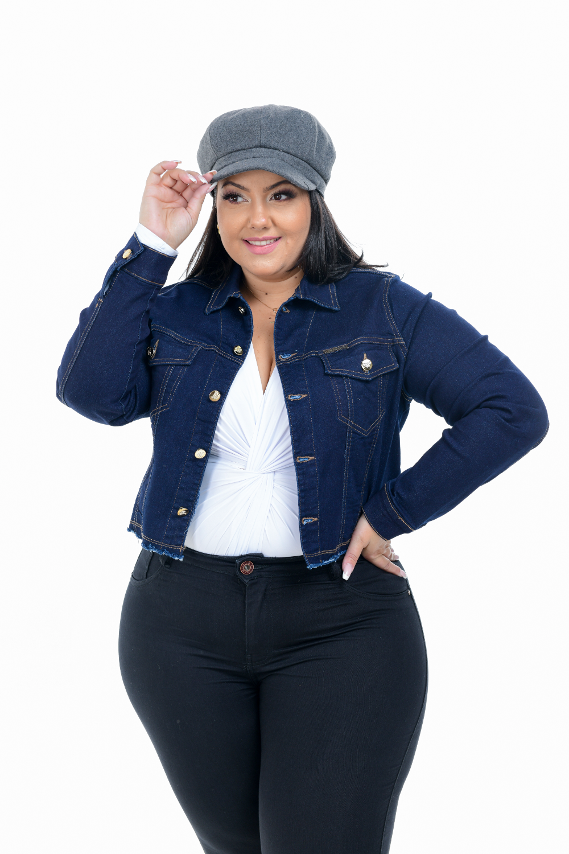 Jaqueta Feminina Jeans Cropped Plus Size XtraCharmy