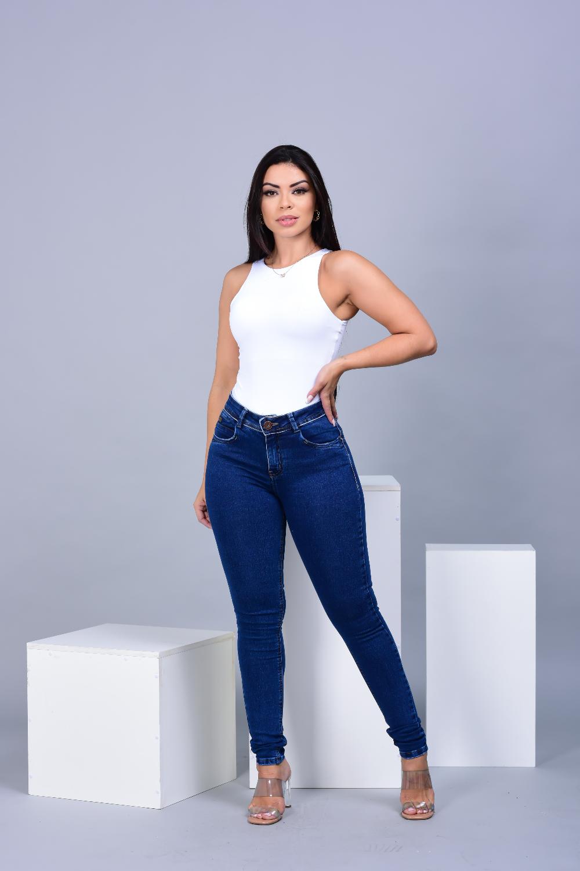Calça Feminina Jeans Skinny Com Lycra