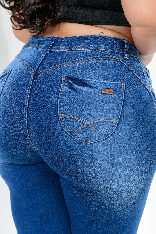 Calça Feminina  Jeans Skinny Cintura Média