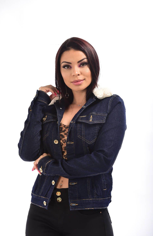 Jaqueta Feminina Jeans Com Gola De Pelo W.Pink