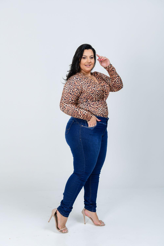 Calça Jeans Feminina Skinny Plus Size Cintura Alta