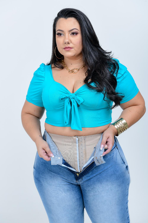 Calça Feminina Jeans Skinny Cintura Média Cinta Modeladora Xtracharmy