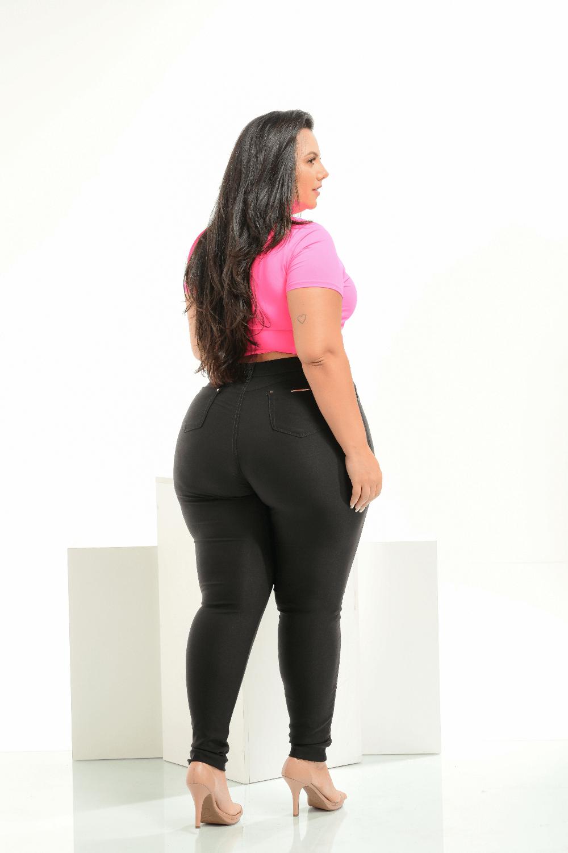 Calça Feminina Jeans Bengaline Black Plus Size Cintura Alta Xtracharmy