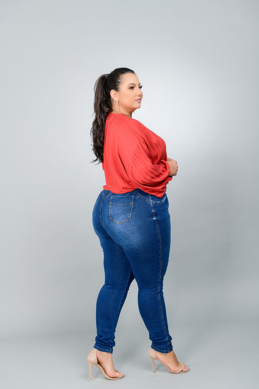 Calça Feminina Skinny Jeans Plus Size Cintura Média