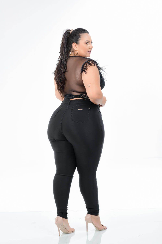 Calça Feminina Bengaline Skinny Plus Size Cintura Alta Xtracharmy