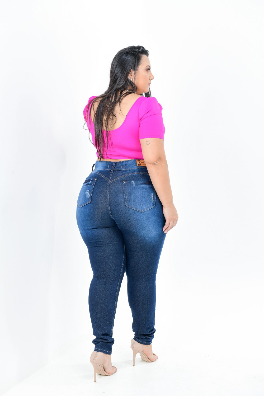 Calça Feminina Jeans Plus Size Cintura Alta Com Cinta Modeladora