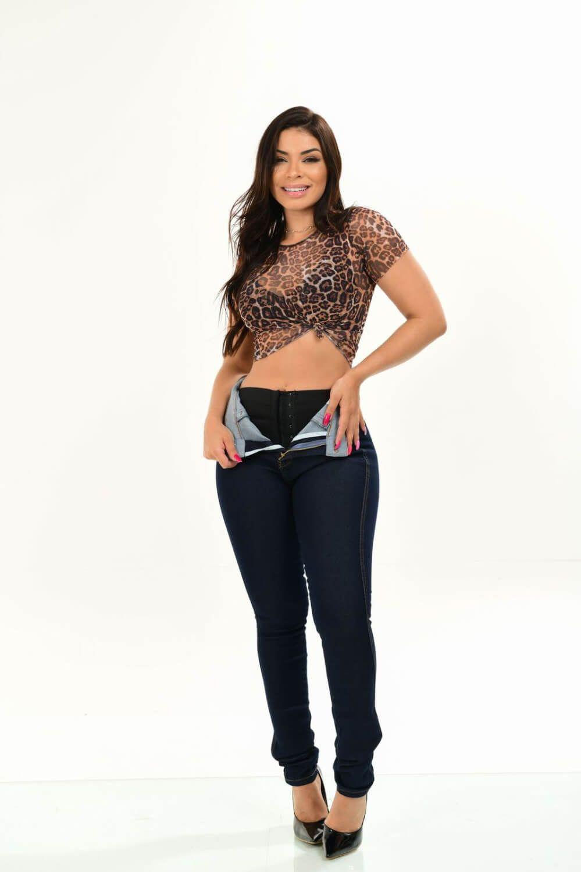 Calça Feminina Jeans Hot Com Cinta Modeladora W.Pink