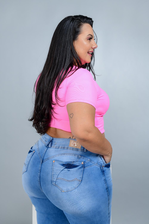Calça Feminina Jeans Skinny Barra Virada Cintura Alta