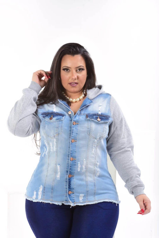 Jaqueta Feminina Jeans Plus Size Com Manga De Moletom