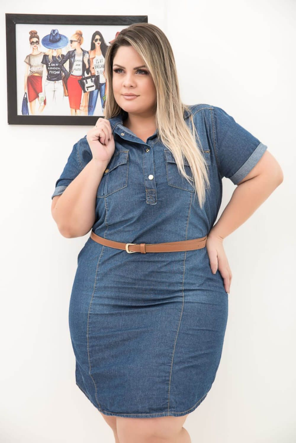 Vestido Feminino Jeans Plus Size com Manga Xtracharmy
