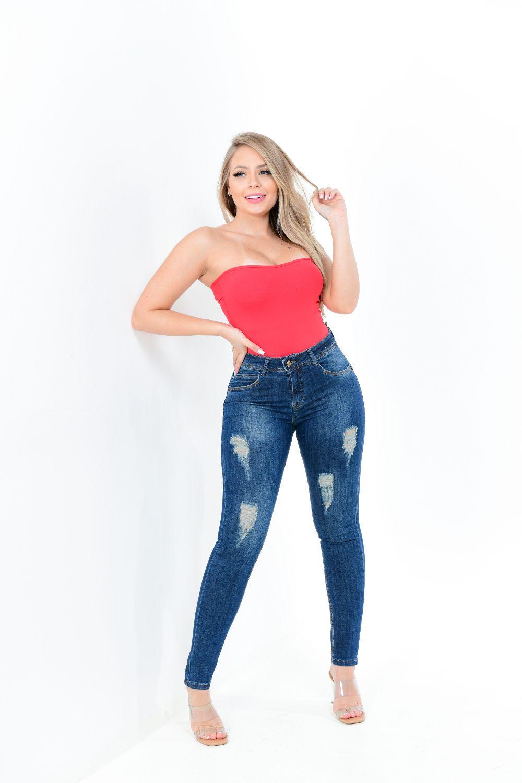Calça Feminina Jeans Skinny Lavagem Sujinho Devorê Frontal