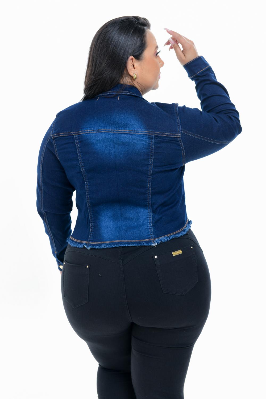 Jaqueta Jeans Feminina Cropped Sky Plus Size Xtracharmy