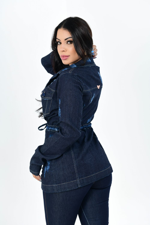 Parka Feminina Jeans Carbono Puído