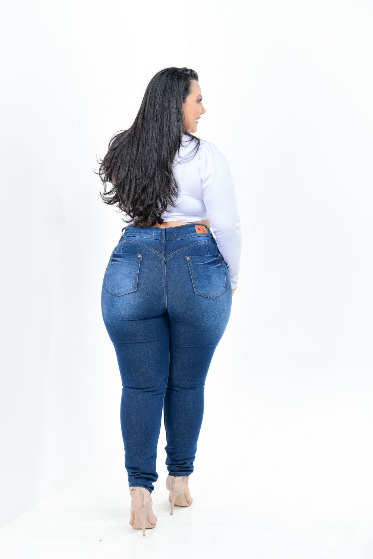 Calça Feminina Jeans Skinny Plus Size Cintura Alta Com Cinta Modeladora