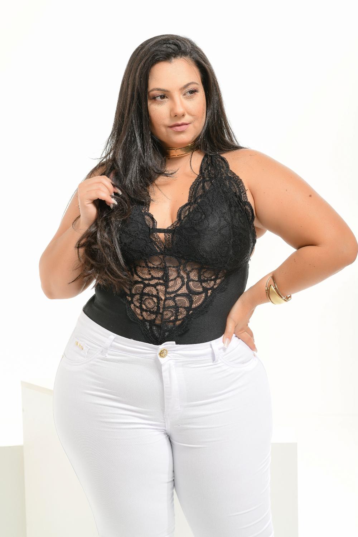 Calça Feminina Jeans Branca Plus Size Cintura Média Xtracharmy