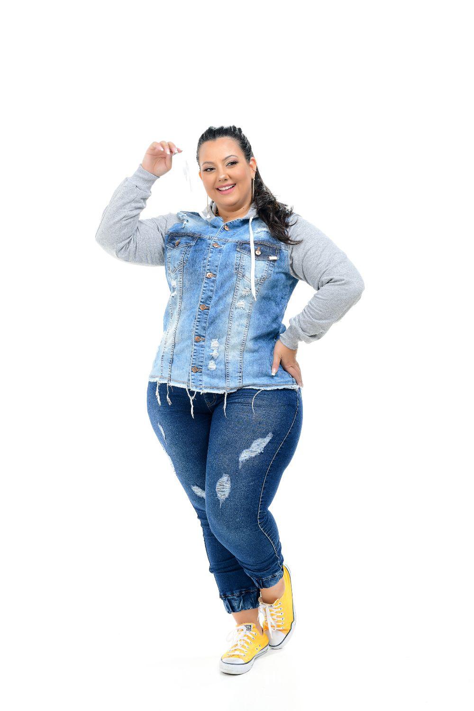 Max Jaqueta Feminina Jeans Plus Size Delavê Com Manga De Moletom