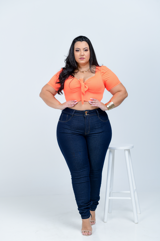 Calça Feminina Jeans Skinny Plus Size Cintura Média Cinta Modeladora Xtracharny