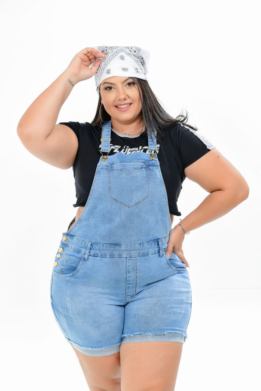 Macaquinho Feminino Jeans Plus Size Delavê Xtracharmy