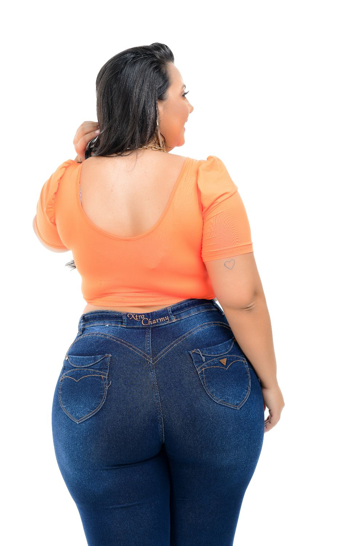 Calça Feminina Jeans Skinny Plus Size Cinto Jeans Cintura Alta Xtracharmy