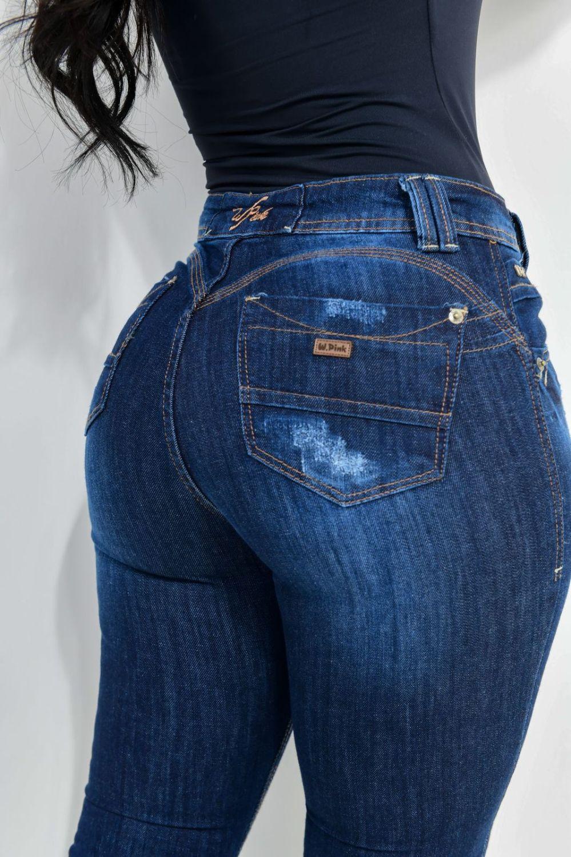Calça Feminina Jeans Skinny Detalhe Puído Frontal