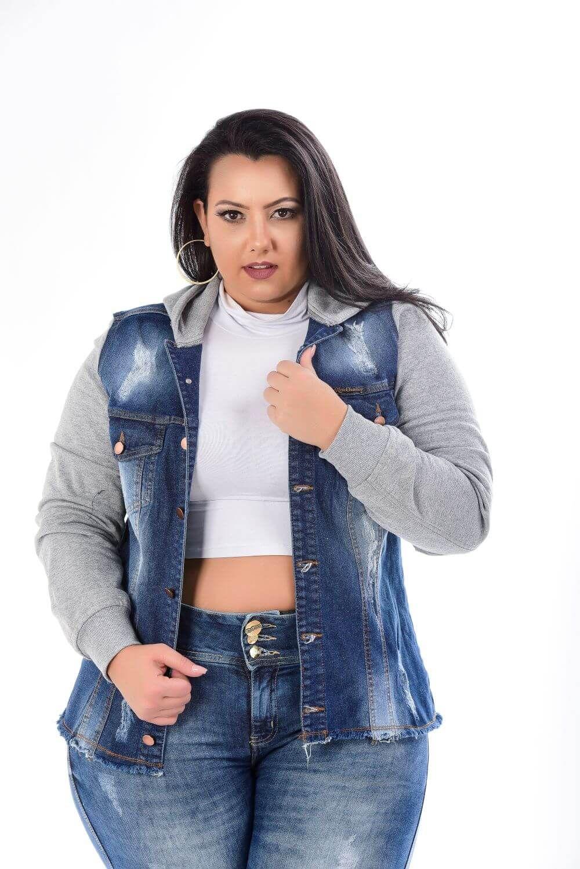 Jaqueta Jeans Feminina Plus Size Com Manga De Moletom
