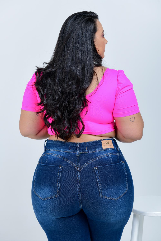 Calça Feminina Jeans Skinny Plus Size Cintura Alta Cinta Modeladora Xtracharmy