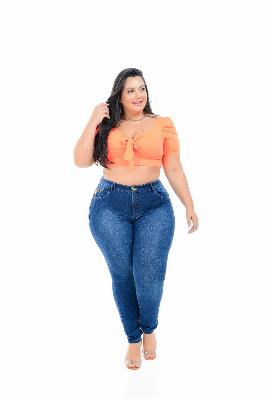 Calça Feminina Jeans Skinny plus Size Cintura Alta